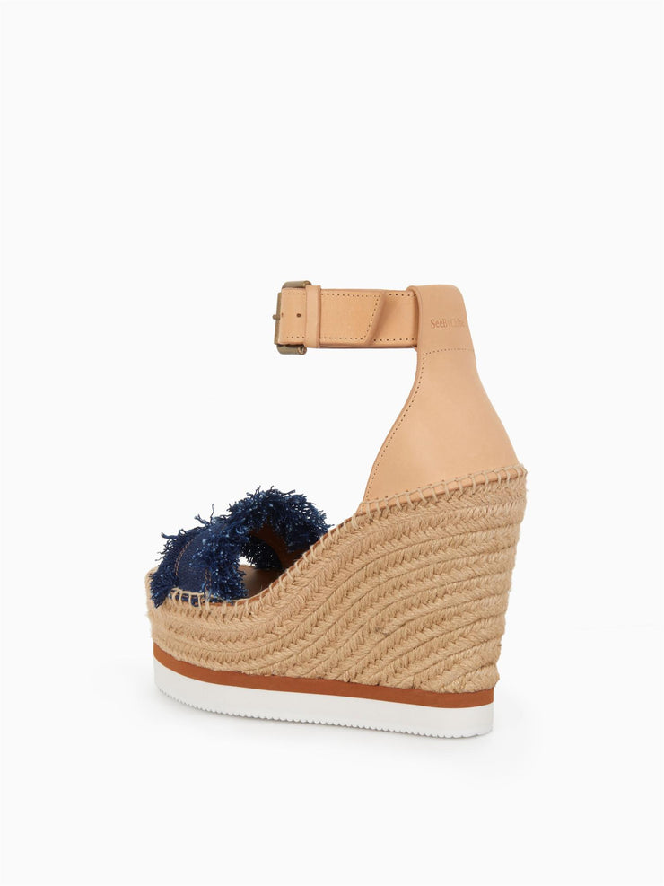 Village Wedge Espadrilles Denim/Natural Calf Beige