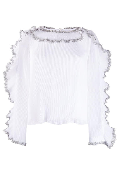 Top with Dotted Frill Detail White