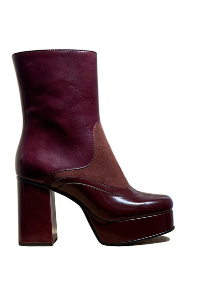Block Heel Platform Boot Burgundy