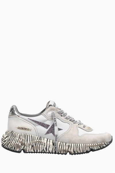 Running Sole Sneakers White Crystal Star Zebra Sole
