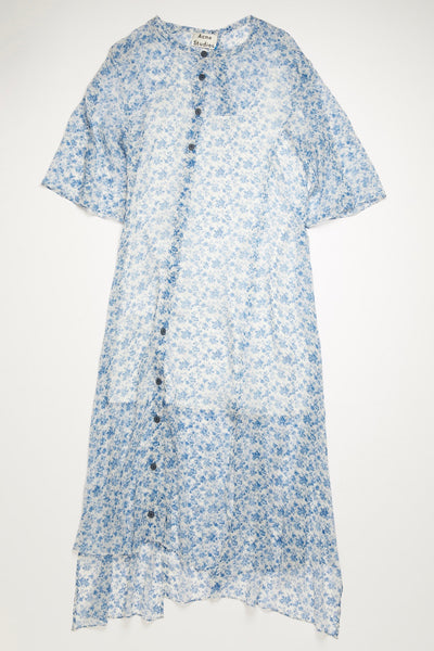 Dagny Chiffon Dress Blue/White