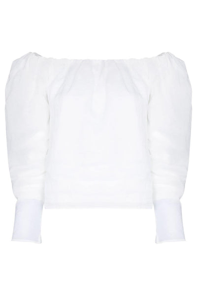 Off The Shoulder Billow Top Blanc