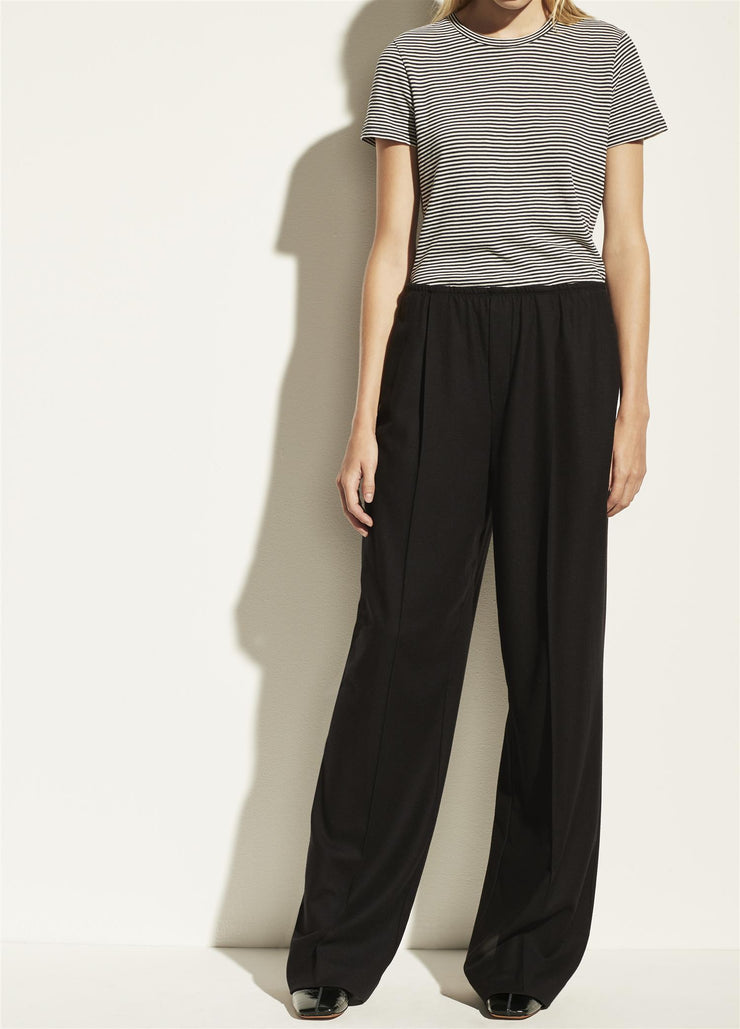 Flannel Wide Leg Pull On Trousers Black