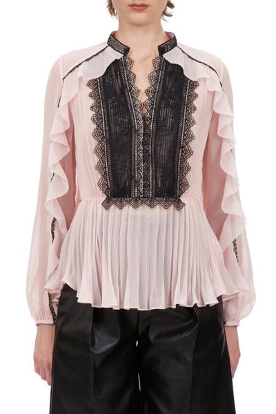 Chiffon and Lace Contrast Top Pink / Black