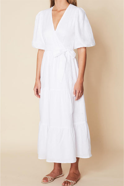 Edee Wrap Dress Plain White