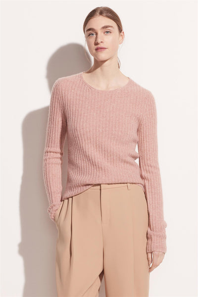 Fitted Ribbed Crew Heather Petal Still