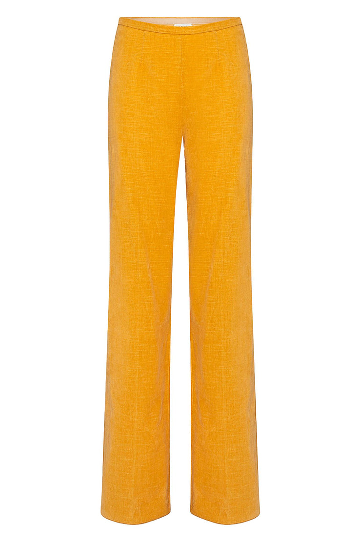 Slubbed Cotton Velvet Wide Pants Ambra