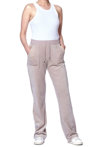 Del Ray Classic Velour Pant Warm Taupe