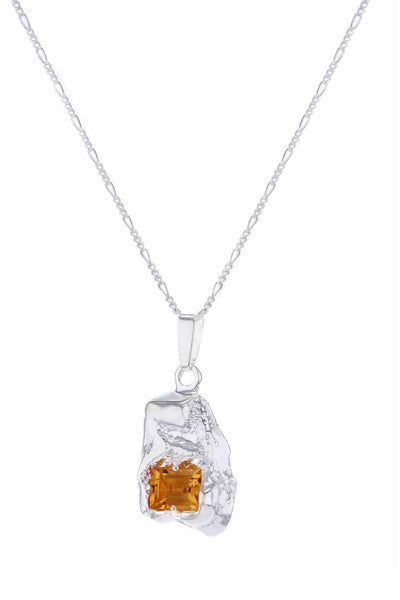 Fusion Single Entity Necklace Silver Orange Nanogem