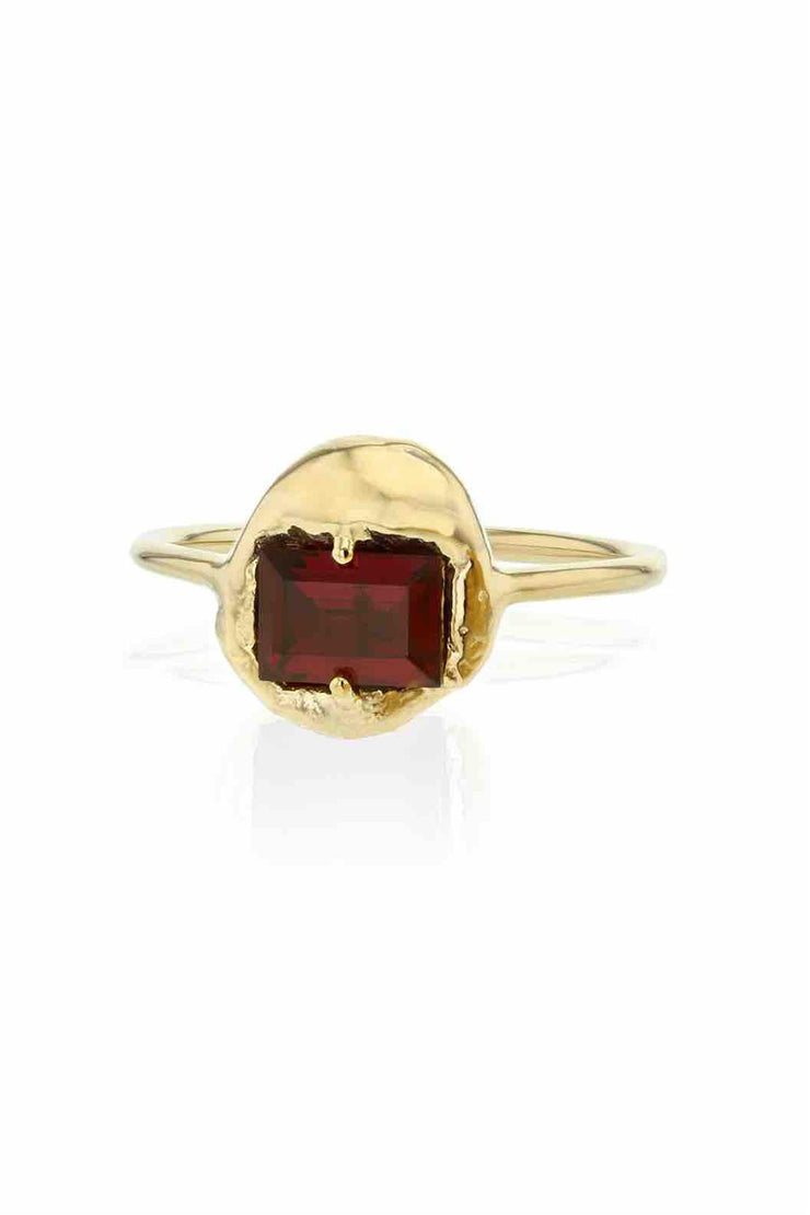 Fusion Substance Ring Gold Red CZ