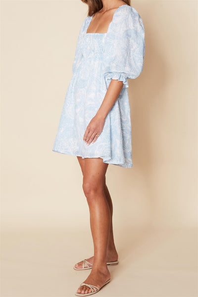 Calista Mini Dress Faye Paisley Print Powder Blue