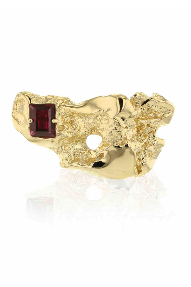 Fusion Liquefaction Brooch Gold Red CZ