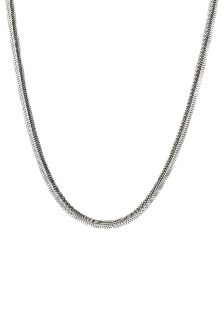 Snake Oval Flex Necklace Silver