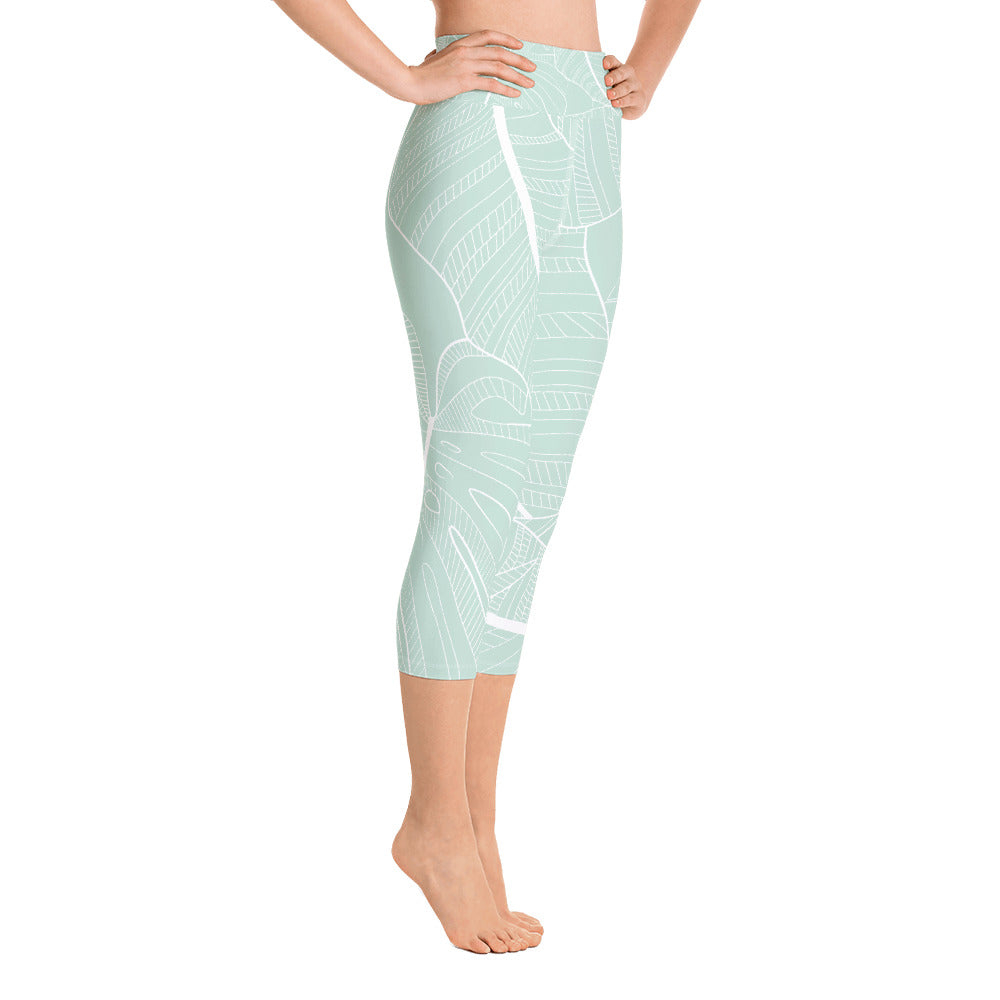 Sage Leaves Yoga Capri Leggings