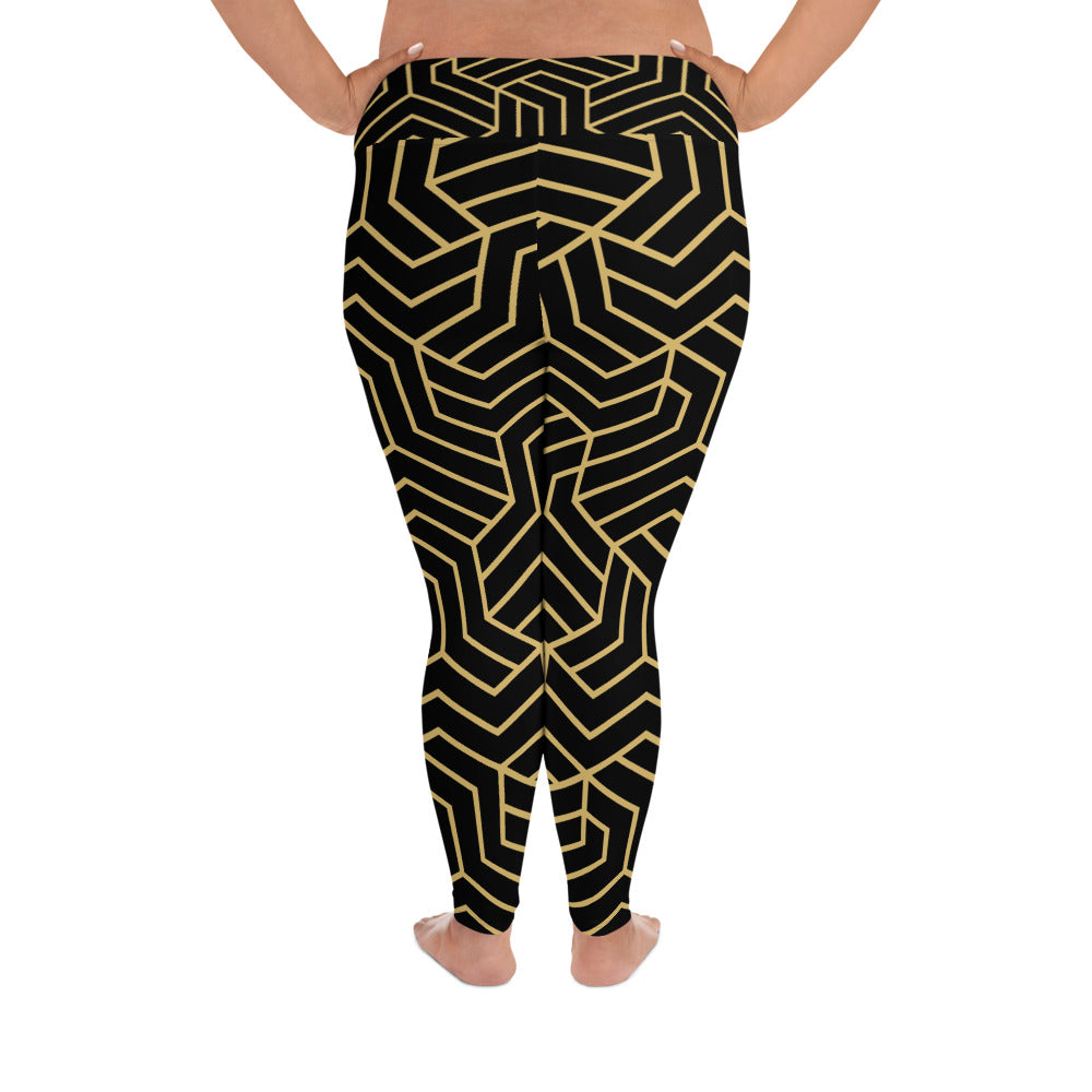 Black Geo Curves Yoga Leggings