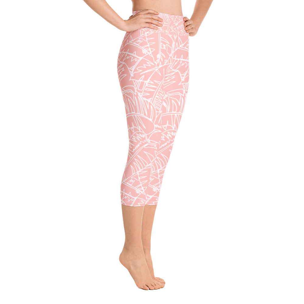 Blush Palm Yoga Capri