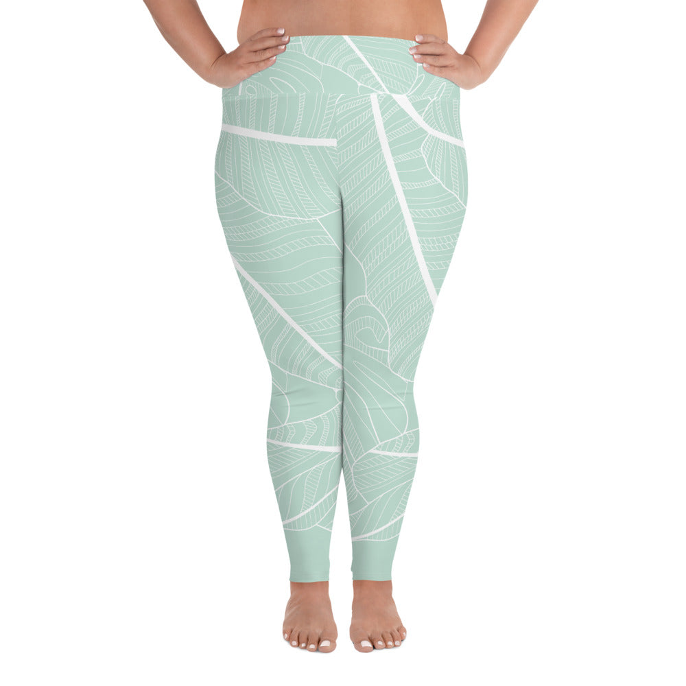 Sage Leaves Curves Leggings