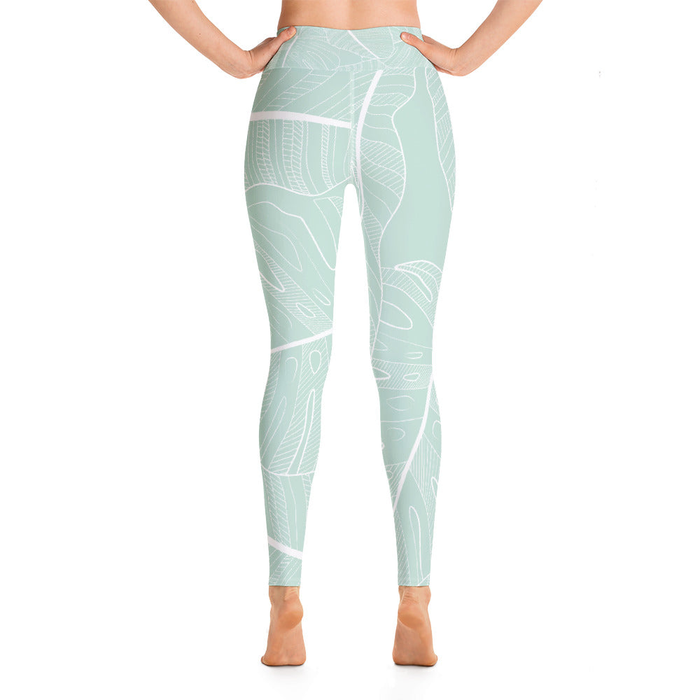 Sage Leaves Yoga Leggings