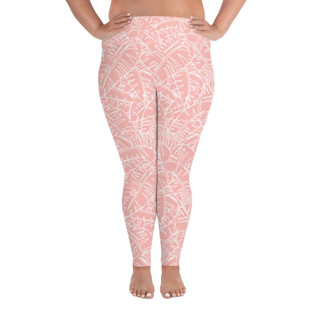 Blush Palm Curves Yoga Leggings