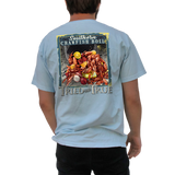 Printed on a Comfort Color chambray color colored t-shirt the Southern crawfish boil, is a vibrant mixture of yellow, red, and brown bringing to life a delicious and vivid fresh crawfish boil scene with lemons, potatoes, and corn.