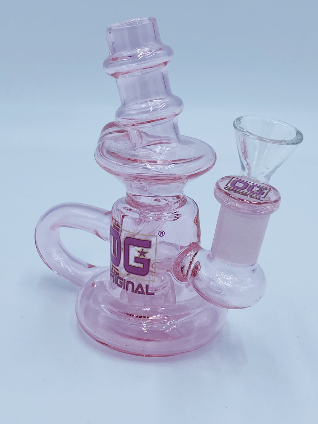 Og Glass Pink Mini Double Recycler  Smoke Country- Smoke Country - Land of the artistic glass blown bongs
