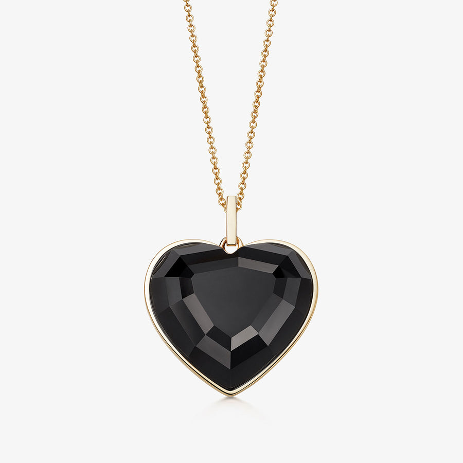 BLACK ONYX HEART TALISMAN GOLD (MEDIUM)