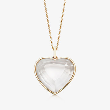 CLEAR QUARTZ HEART TALISMAN GOLD (MEDIUM)