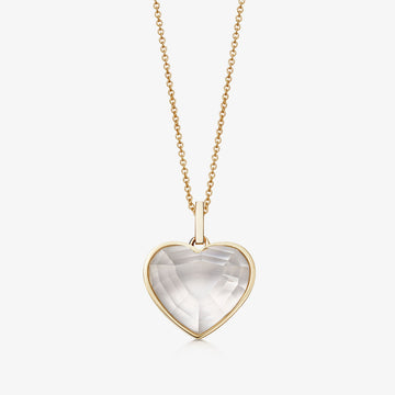 CLEAR QUARTZ HEART TALISMAN GOLD (BABY)