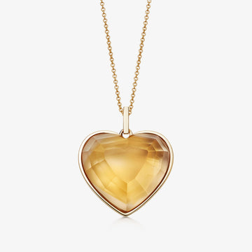 CITRINE HEART TALISMAN GOLD (LARGE)