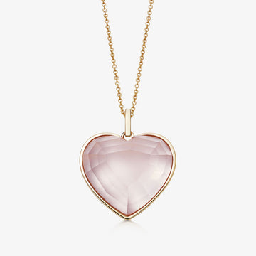 ROSE QUARTZ HEART TALISMAN GOLD (LARGE)