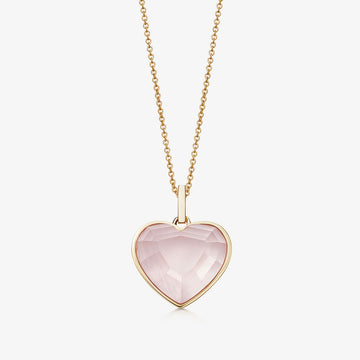 ROSE QUARTZ HEART TALISMAN GOLD (MEDIUM)