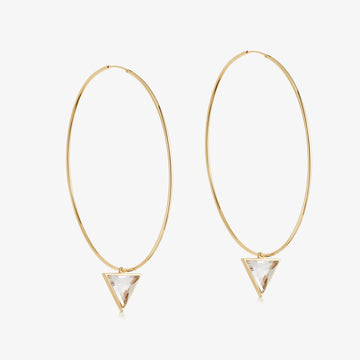 Clear Quartz Nabla Infinity Hoop Earrings (Large)