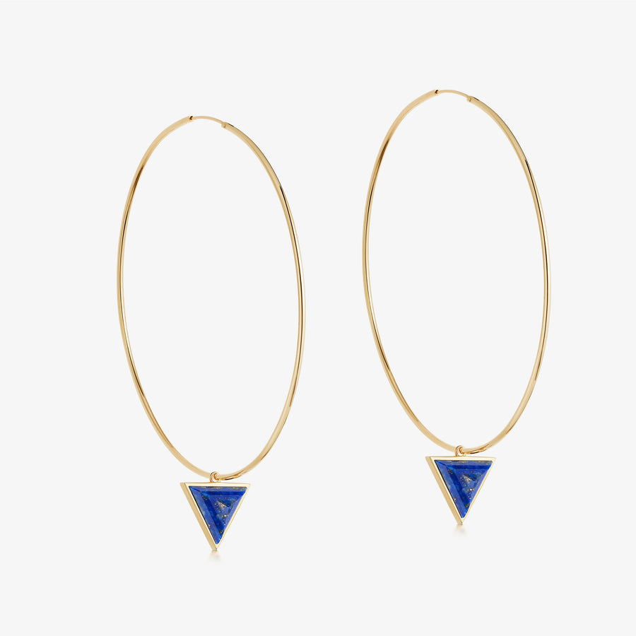 Blue Lapis Nabla Infinity Hoop Earrings (Large)