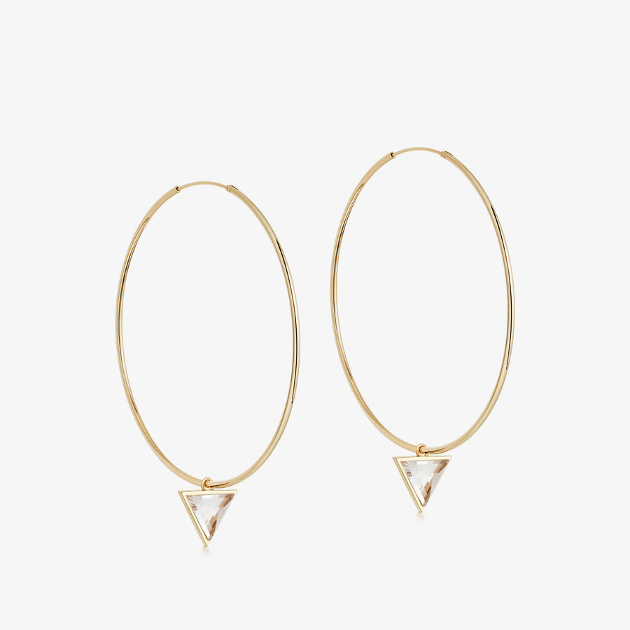 Clear Quartz Nabla Infinity Hoop Earrings (Medium)