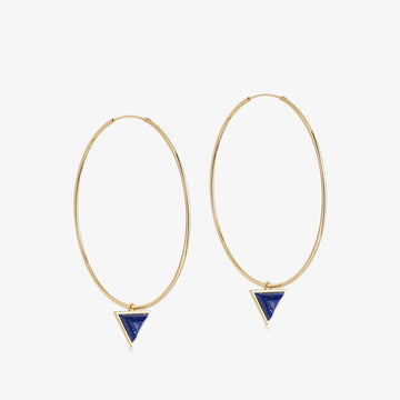 Blue Lapis Nabla Infinity Hoop Earrings (Medium)