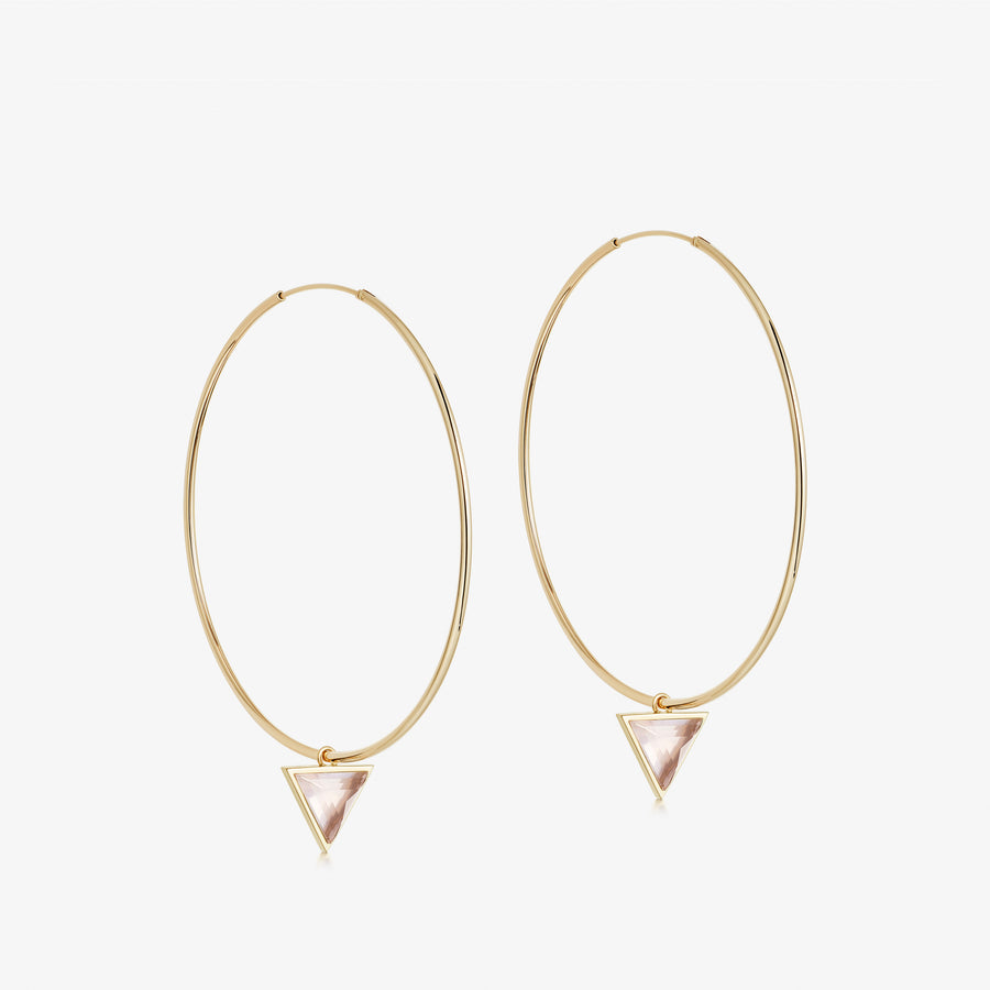 Rose Quartz Nabla Infinity Hoop Earrings (Medium)