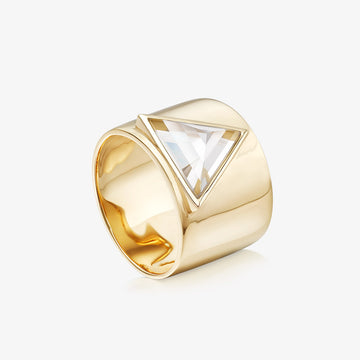 CLEAR QUARTZ ULTIMATE GUARDIAN RING GOLD (WIDE)