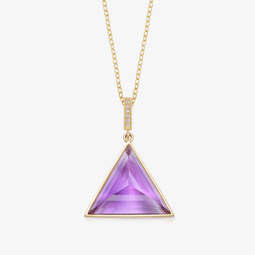 AMETHYST MINI GUARDIAN PENDANT WITH DIAMOND (GOLD)