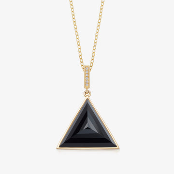 BLACK ONYX MINI GUARDIAN PENDANT WITH DIAMOND (GOLD)