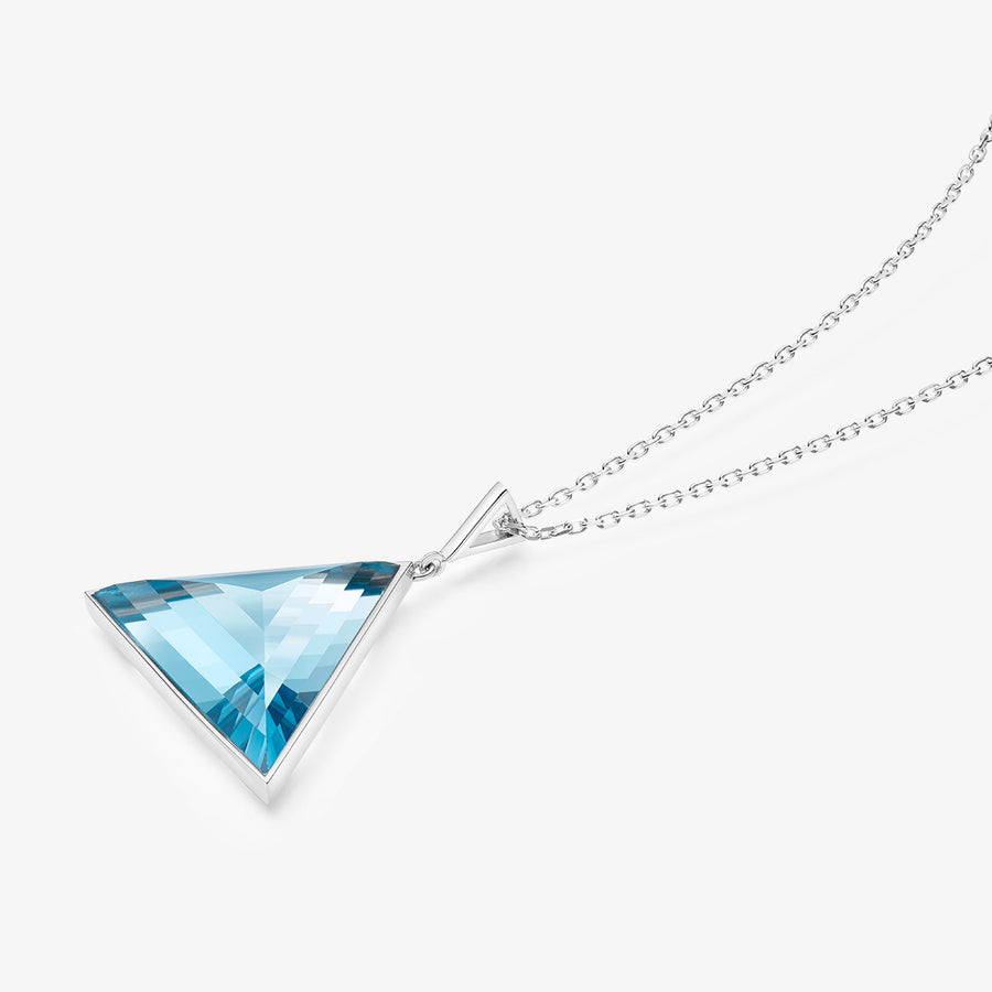 BLUE TOPAZ ULTIMATE GUARDIAN PENDANT WHITE GOLD (LARGE)