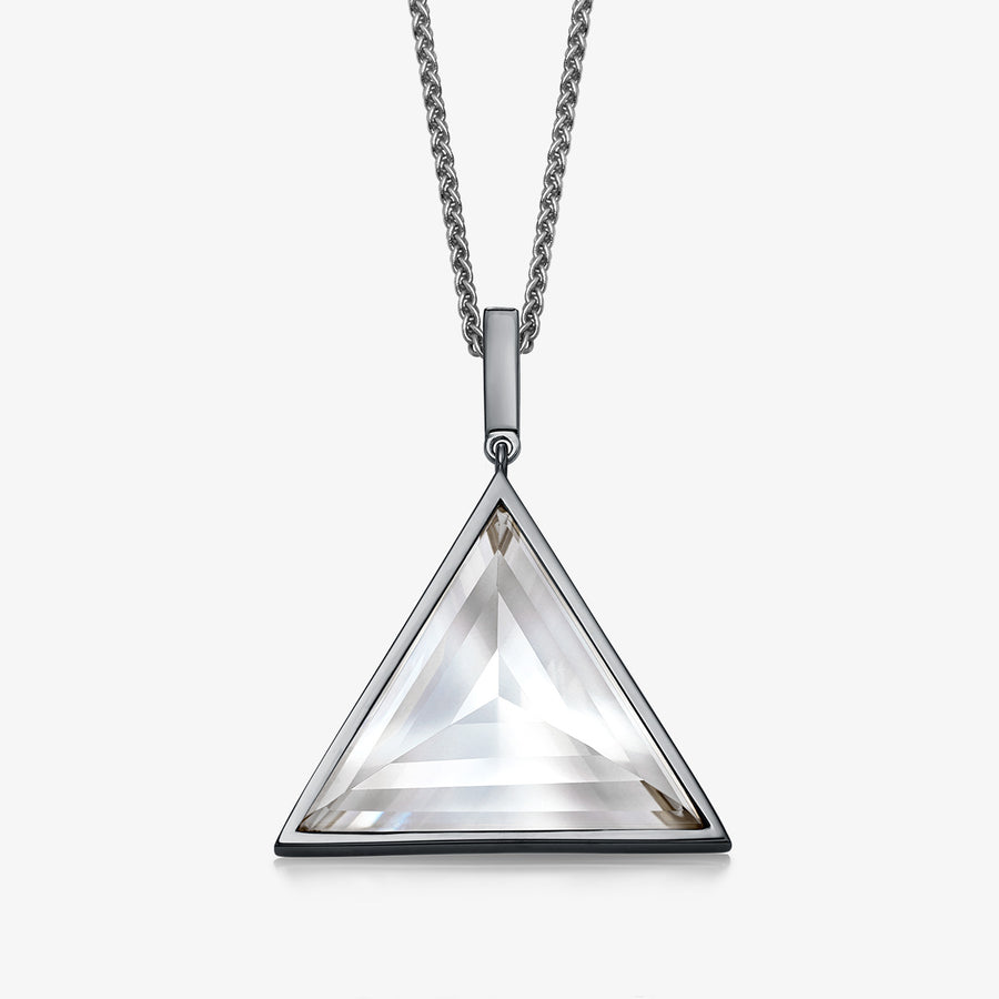 MEN'S CLEAR QUARTZ ULTIMATE GUARDIAN PENDANT (BLACK SILVER)
