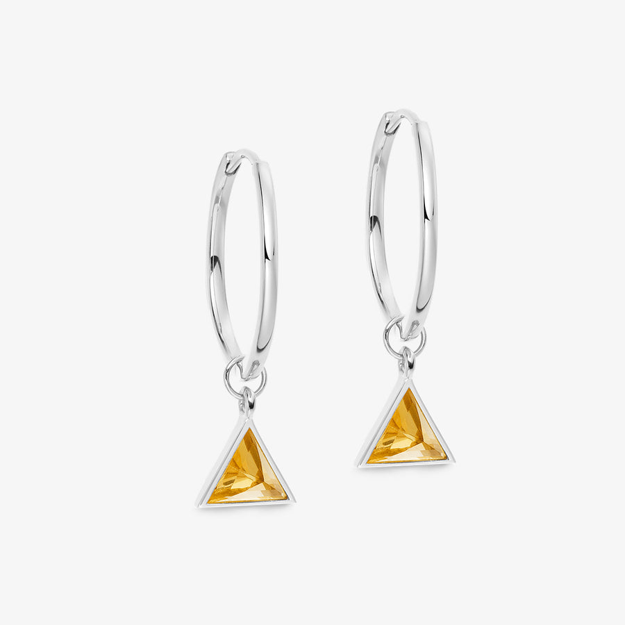 CITRINE ULTIMATE GUARDIAN EARRINGS WHITE GOLD (MEDIUM)