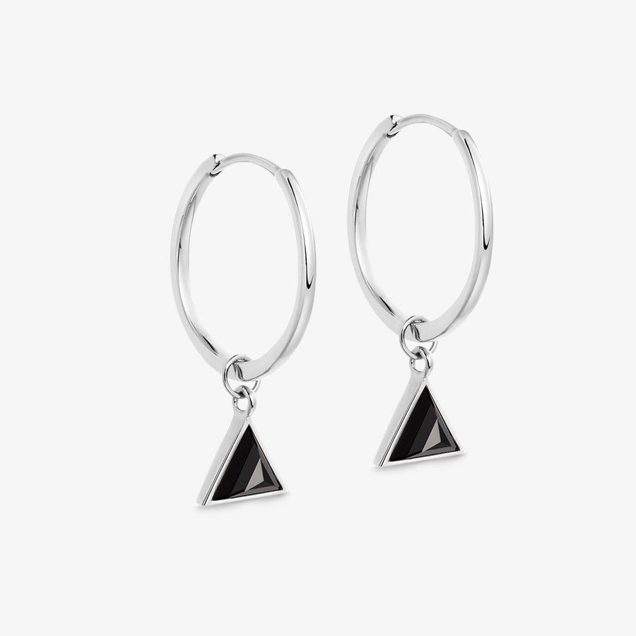 BLACK ONYX ULTIMATE GUARDIAN EARRINGS WHITE GOLD (MEDIUM)