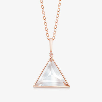 CLEAR QUARTZ MINI GUARDIAN PENDANT (ROSE GOLD)
