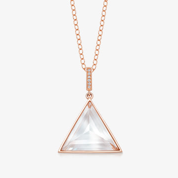 CLEAR QUARTZ MINI GUARDIAN PENDANT WITH DIAMOND (ROSE GOLD)