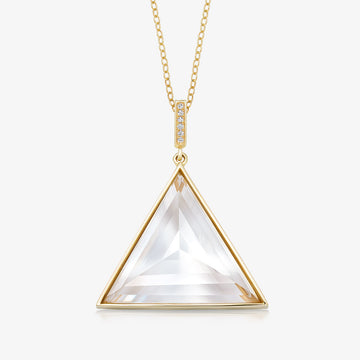 CLEAR QUARTZ ULTIMATE GUARDIAN PENDANT WITH DIAMOND (GOLD)