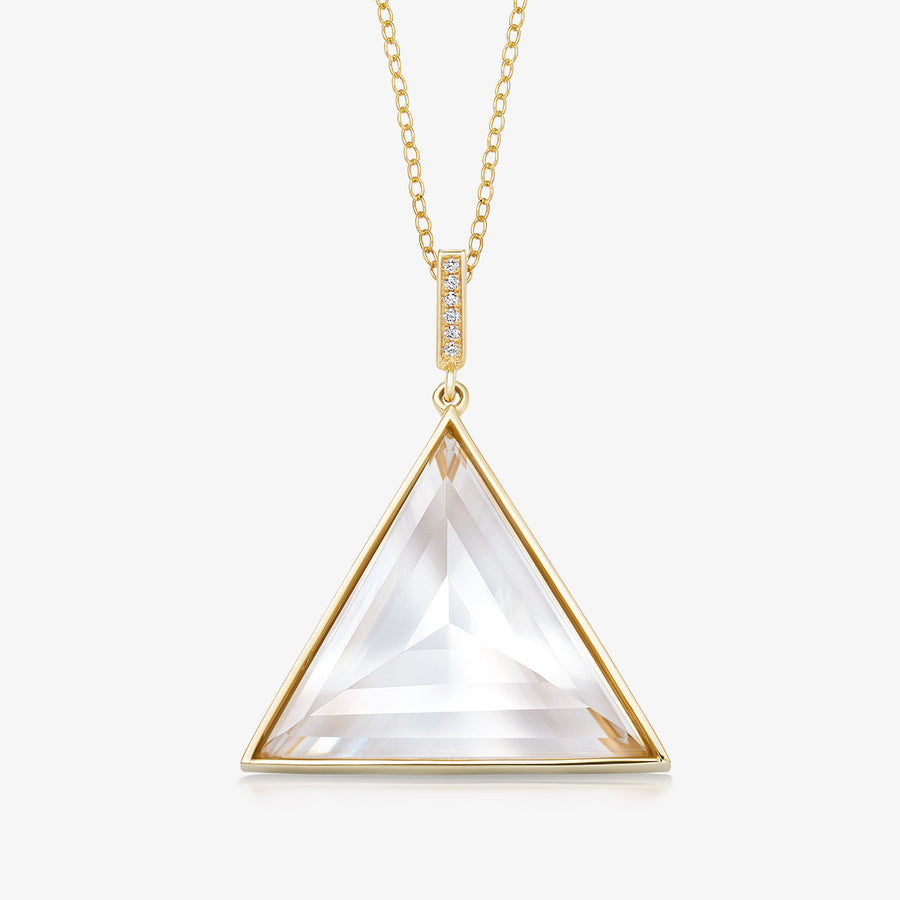 CLEAR QUARTZ ULTIMATE GUARDIAN PENDANT WITH DIAMOND GOLD (LARGE)