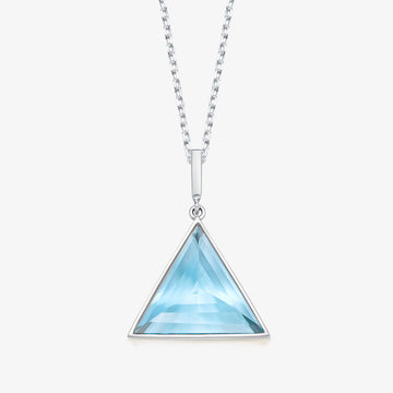 BLUE TOPAZ MINI GUARDIAN PENDANT (WHITE GOLD)