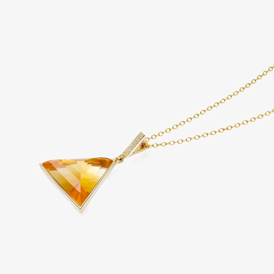 CITRINE ULTIMATE GUARDIAN PENDANT WITH DIAMOND GOLD (MEDIUM)