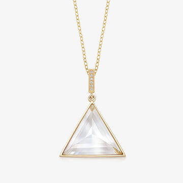 CLEAR QUARTZ MINI GUARDIAN PENDANT WITH DIAMOND (GOLD)